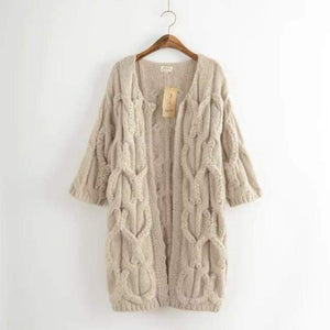 Fall Loose Solid Twist Sweater - Cardigan