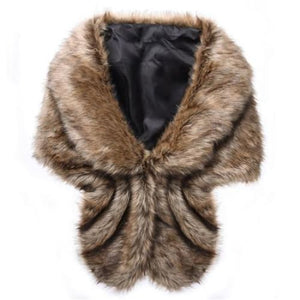 Fashion Women Faux Fur Shawl - Brown - Shawls