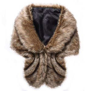 Fashion Women Faux Fur Shawl - Shawls