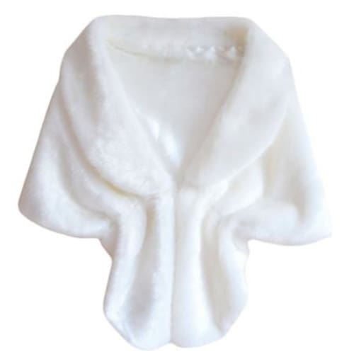 Fashion Women Faux Fur Shawl - White - Shawls