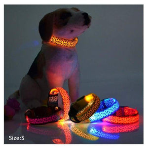 Flashing Led Leopard Print Design Puppy Collar - Dog Collars