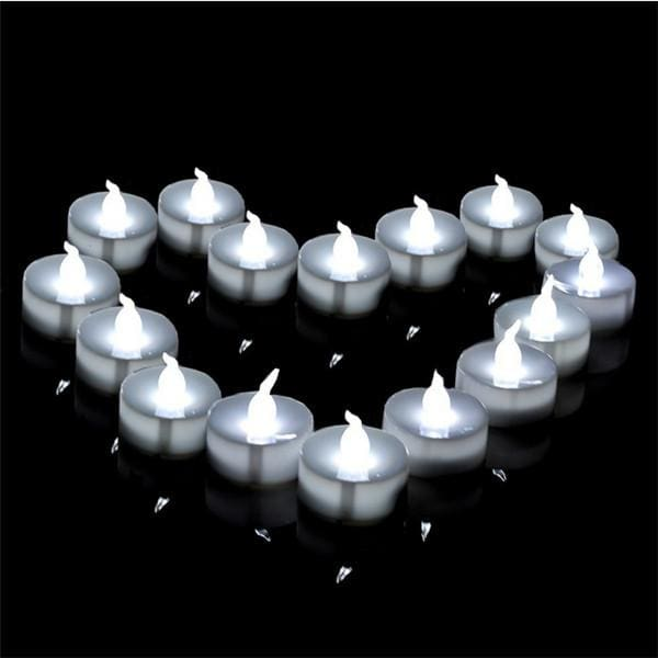 Flickering Tea Lights LED Candles-100 pcs - cool white - Electric Candles