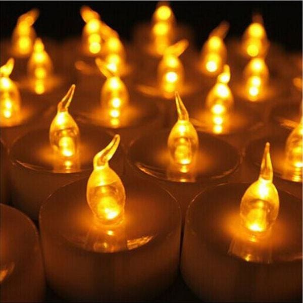 Flickering Tea Lights LED Candles-100 pcs - yellow flicker - Electric Candles
