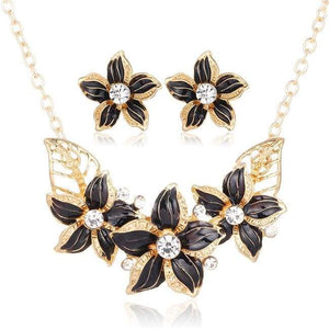Flower Jewelry Set - Njcs081Black - Jewelry Set