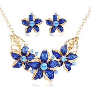 Flower Jewelry Set - Njcs081Blue - Jewelry Set