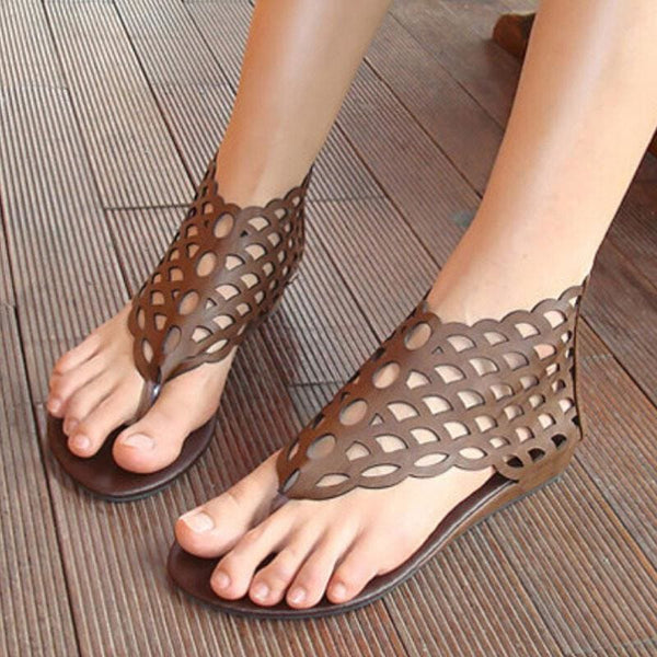 Gladiator Flats Sandals - Brown / 4 - Sandals