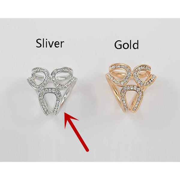 Gold / Silver Flowers Scarf Holder - Silver - Jewelry