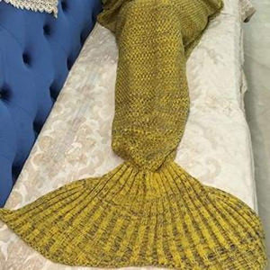 Handmade Crochet Knitted Mermaid Tail Blanket - 6 - Blanket