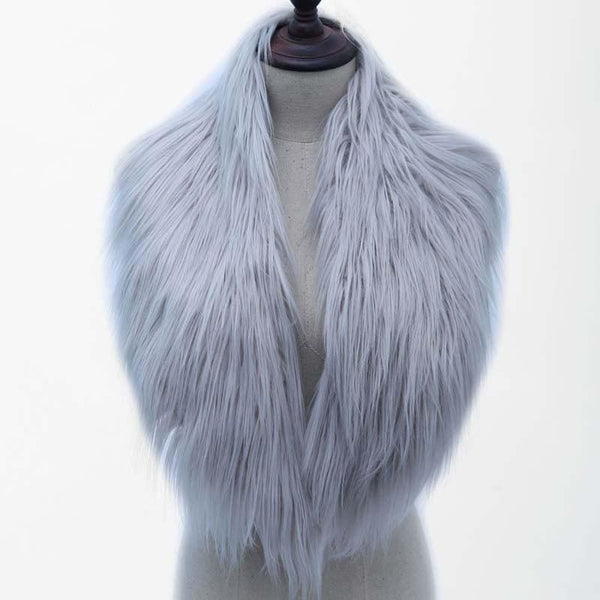 High Quality Faux Fur Shawl - Gray / One Size - Shawls