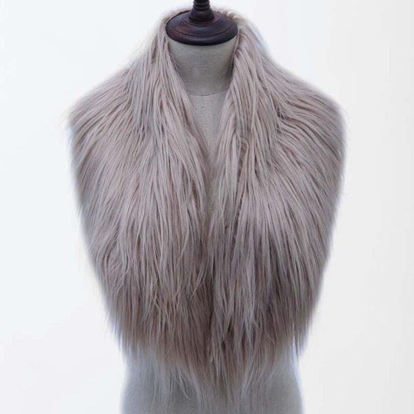 High Quality Faux Fur Shawl - Light Khaki / One Size - Shawls