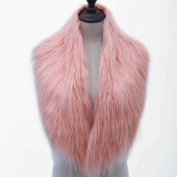 High Quality Faux Fur Shawl - Peach Pink / One Size - Shawls