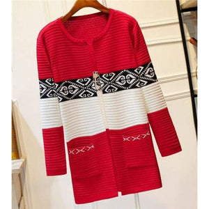 High Quality Knitted Sweater - Style2 Red / S - Cardigan