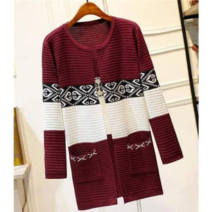 High Quality Knitted Sweater - Style2 Wine Red / S - Cardigan