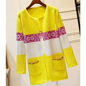 High Quality Knitted Sweater - Style2 Yellow / S - Cardigan