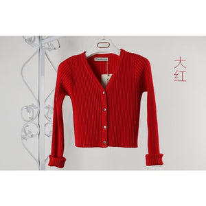 High Waist Sweater - W00860 red / S - Cardigan