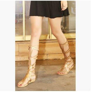 Knee High Sandals - Gold / 4 - Sandals