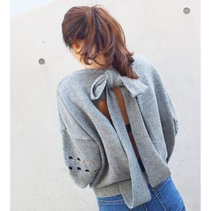 Loose Backless Bow-Knot Sweater - Cardigan