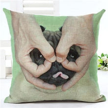 Load image into Gallery viewer, Lovely Silent Pug Dog Pillow Cover - 450mm*450mm / 2433d - pillow case