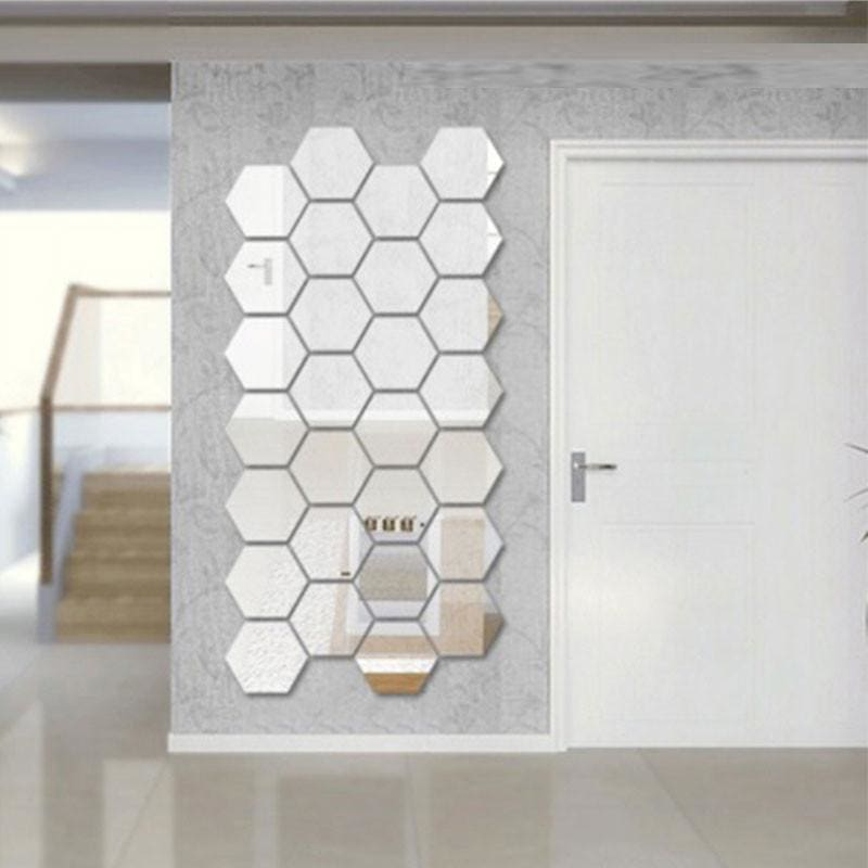 Mirrored Hexagonal Wall Decoration (7 Pc