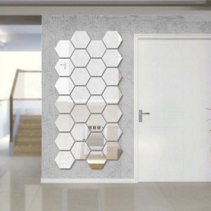 Mirrored Hexagonal Wall Decoration (7 Pc) - Silver - Wall Art
