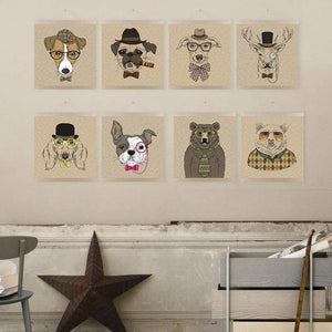 Modern Handpainted Canine Canvas Portraits - Home Decor