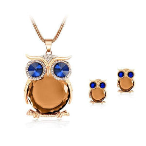 Owl Jewelry Set - Gold Orange - Jewelry Set