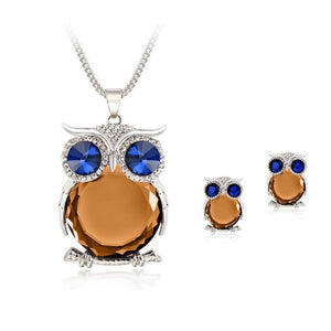 Owl Jewelry Set - Silver Orange - Jewelry Set