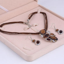 Load image into Gallery viewer, Pendant necklace Leather Rope Chain Jewelry set - Jewelry set