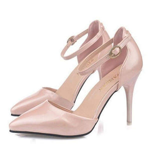 Pointy Toe Ankle Strap Shoes - Shoes