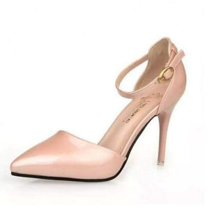 Pointy Toe Ankle Strap Shoes - Pink / 4.5 - Shoes