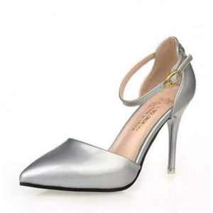 Pointy Toe Ankle Strap Shoes - Silver / 4.5 - Shoes
