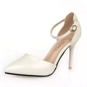 Pointy Toe Ankle Strap Shoes - White / 4.5 - Shoes