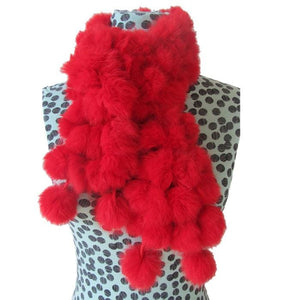 Rabbit Faux Fur Ball Shawl - A - Shawls