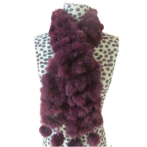 Rabbit Faux Fur Ball Shawl - E - Shawls