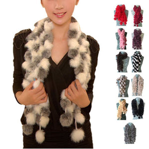 Rabbit Faux Fur Ball Shawl - Shawls