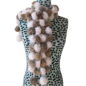 Rabbit Faux Fur Ball Shawl - G - Shawls