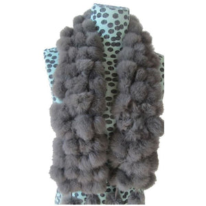 Rabbit Faux Fur Ball Shawl - K - Shawls