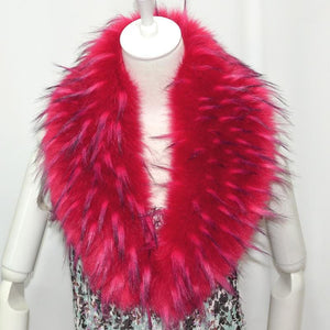 Raccoon Faux Fur Shawl - Red - Shawls