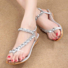 Load image into Gallery viewer, Rhinestone Flat Sandals - Sandals