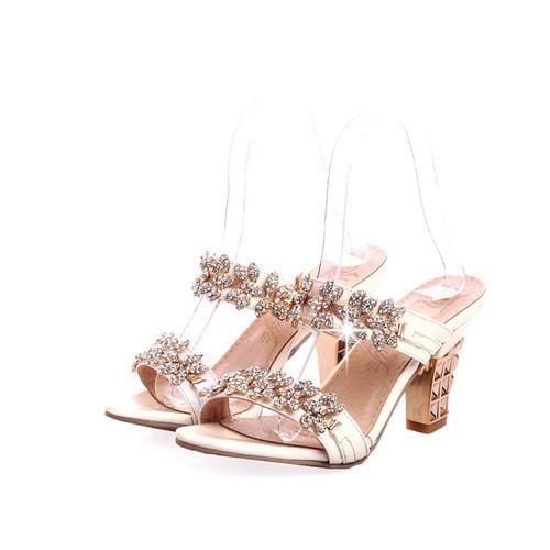 Rhinestone Ladies Sandals - Beige / 4 - Sandals