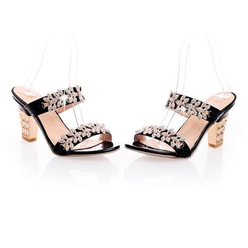 Rhinestone Ladies Sandals - Black / 4 - Sandals