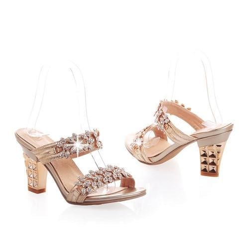 Rhinestone Ladies Sandals - Gold / 4 - Sandals
