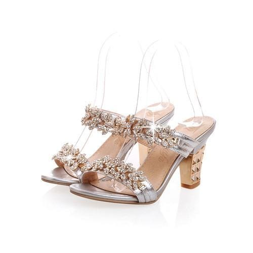 Rhinestone Ladies Sandals - Silver / 4 - Sandals