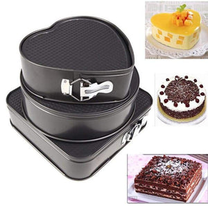 Set Of Three Springform Cake Mould Baking Pans - Kitchen Gadgets