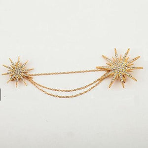 Snow Star Alloy Brooch - Gold - Jewelry
