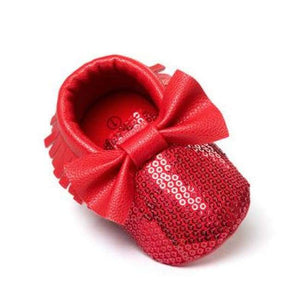 Soft Bottom Fashion Tassels Baby Moccasin - Bling Red / 1 - Baby Clothing