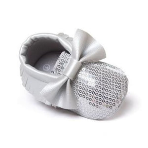 Soft Bottom Fashion Tassels Baby Moccasin - Bling Silver / 1 - Baby Clothing
