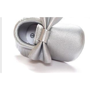 Soft Bottom Fashion Tassels Baby Moccasin - Silver / 1 - Baby Clothing
