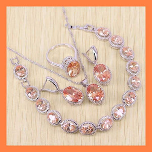 Sparkling Orange Morganite Jewelry Set - Jewelry Set