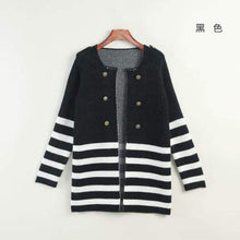 Load image into Gallery viewer, Striped Mid-Length Cardigan - Black / M - Cardigan